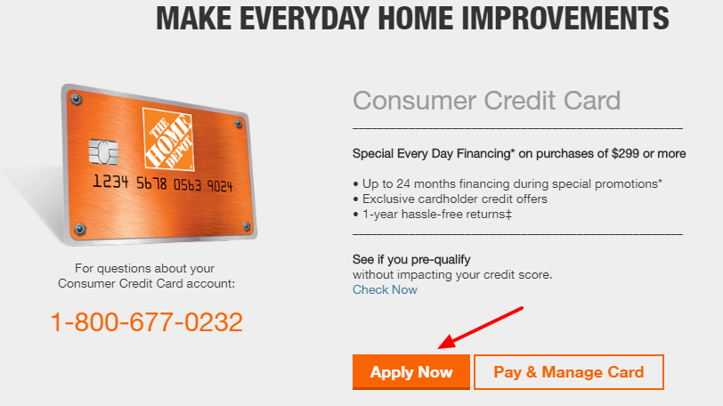 Home Depot Consumer Credit Card online Application