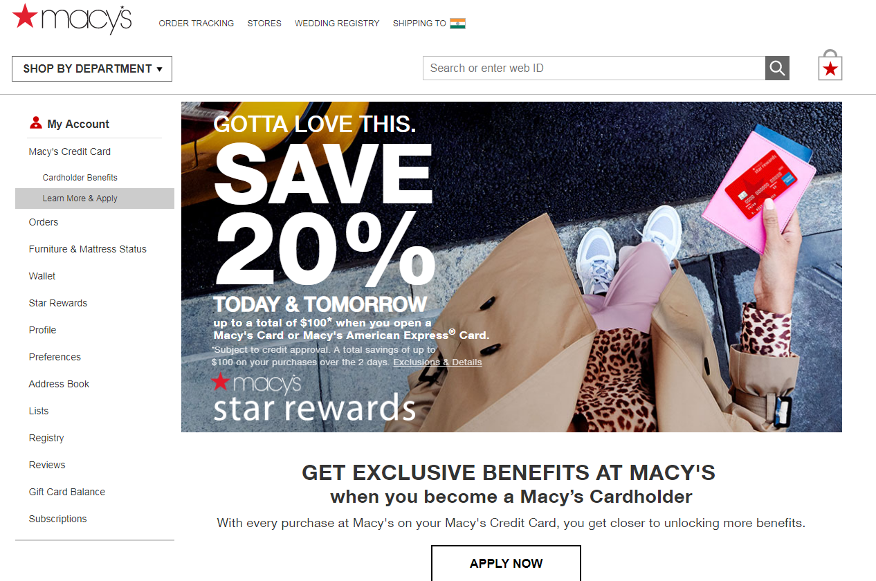 apply a Macy s Credit Card and Save 20