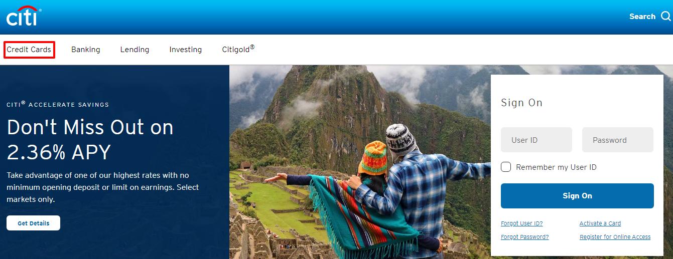 login to Citibank Credit card account
