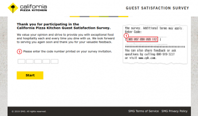 California Pizza Kitchen Guest Satisfaction Survey