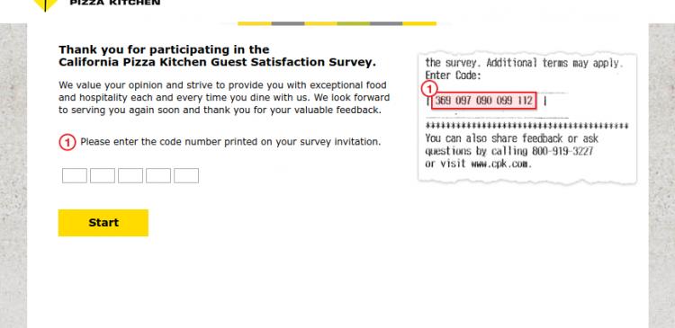 California Pizza Kitchen Guest Satisfaction Survey