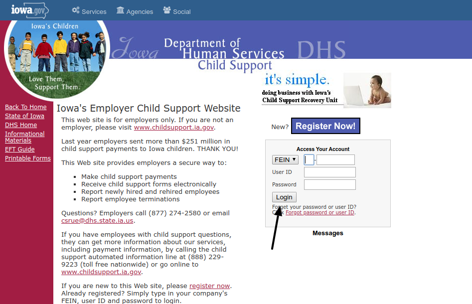 Iowa DHS Employer Login