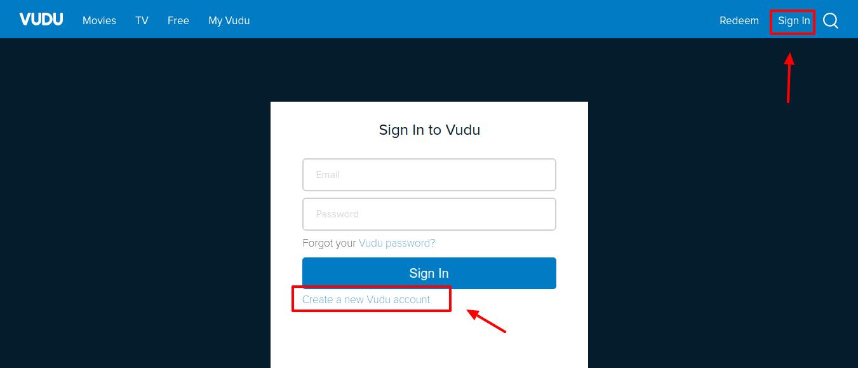 My VUDU Create Account