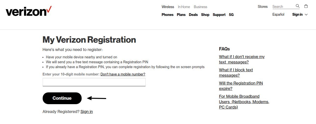 My Verizon Registration