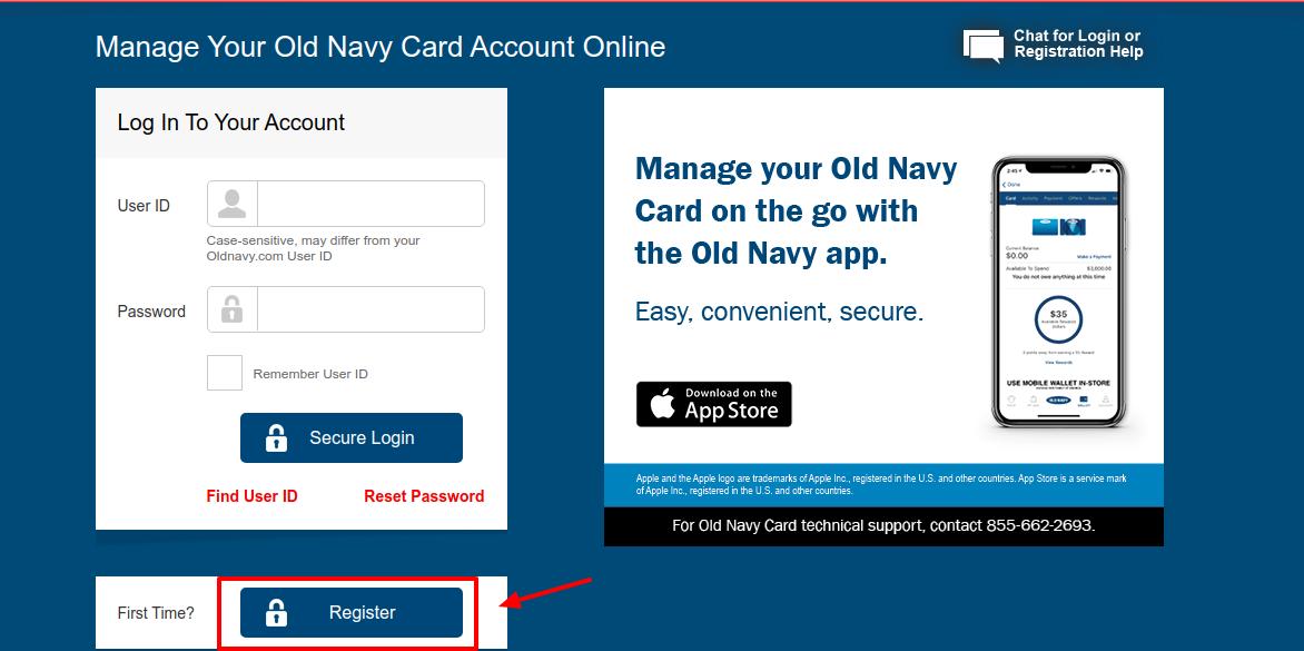 Old Navy Credit Card Register