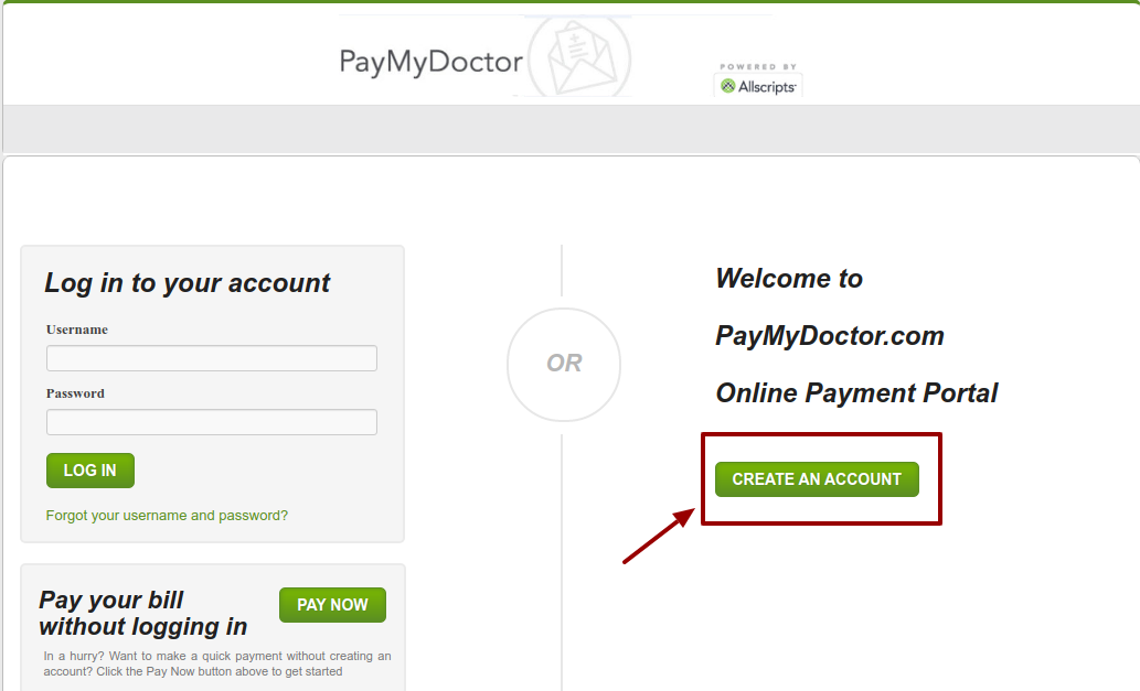 PayMyDoctor Create account
