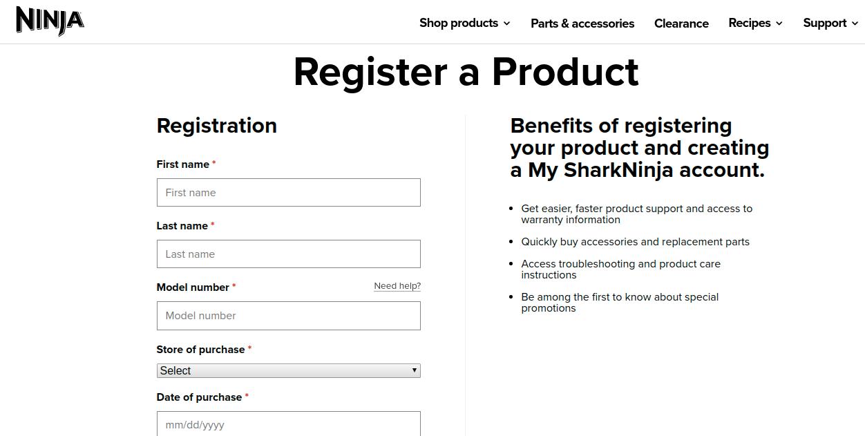 My SharkNinja Register a Product