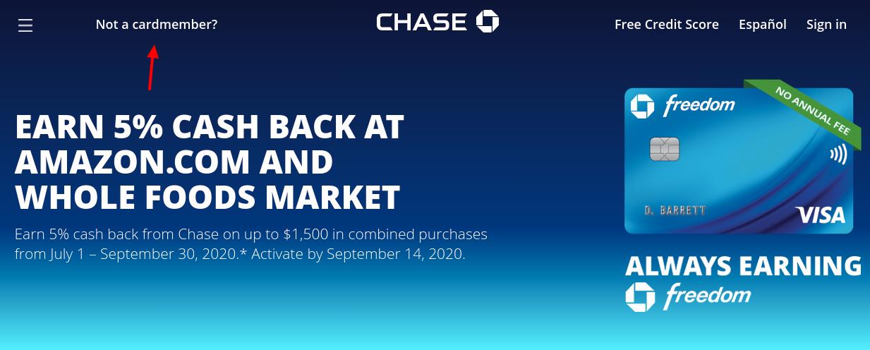 Chase Freedom Cash Back Card