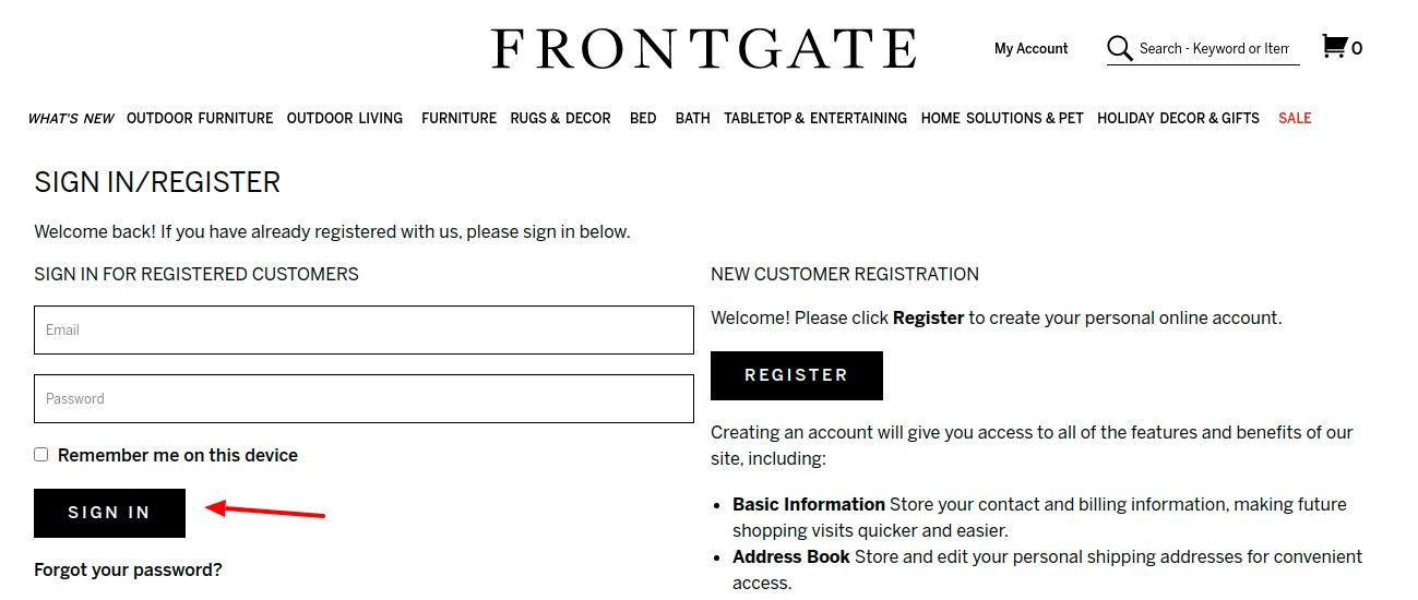 Frontgate Login