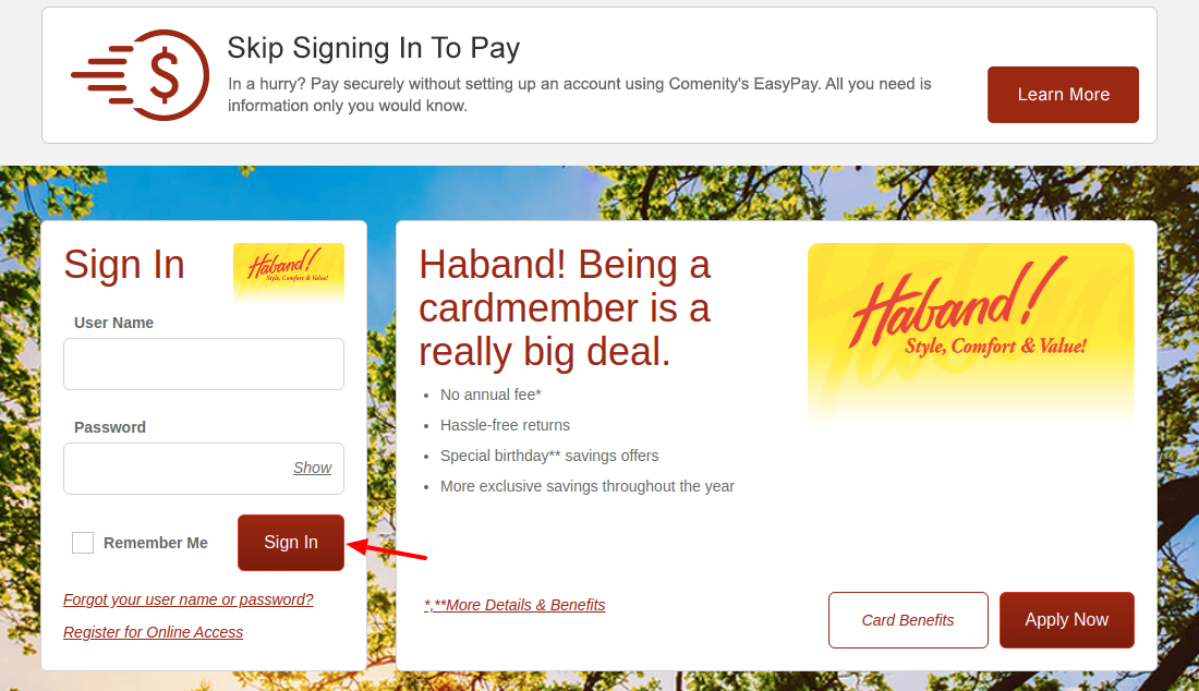 Haband Credit Card Sign In