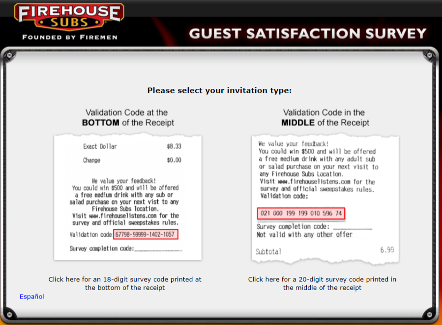 Firehouse subs survey
